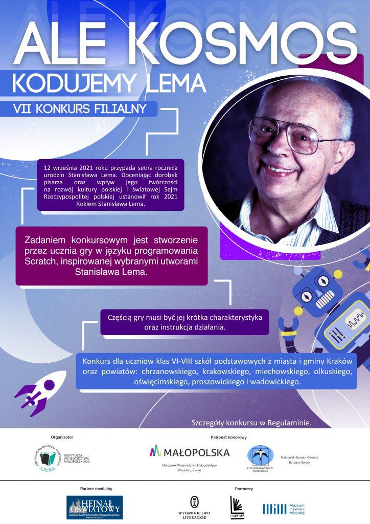 Plakat promujący 7 Konkurs Filialny Ale Kosmos - kodujemy Lema.